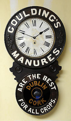 "Antique New Haven Clock Co. ""Goulding's Manures"" Advertising clock, Super Rare!"