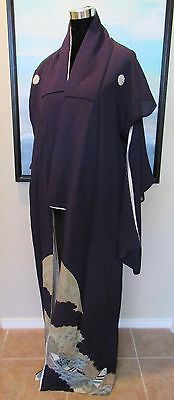 VTG Japanese Tomesode Kimono Long Formal Deep Purple