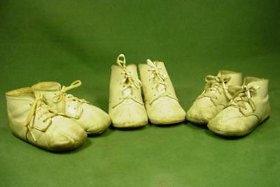 3 Pairs Antique Vintage Leather High Top Baby Shoes Soft Soles Nice For Dolls
