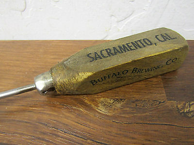 Vintage Wood Handle Ice Pick Buffalo Brewing Co Sacramento Cal  Advertising