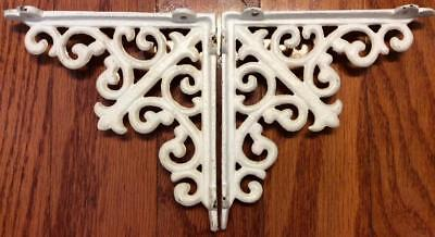 Antique white cast iron bracket shelf door wall Pair set 2 Architectural Corbels