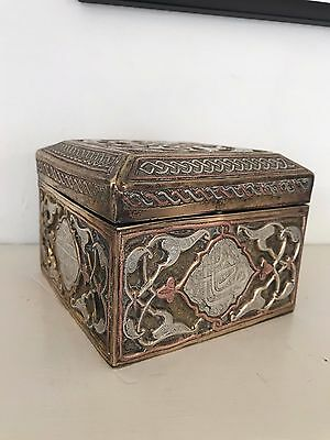 Islamic Damascene / Cairoware Brass Box with inlaid Silver and Copper