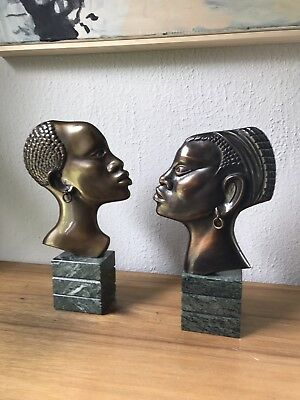 "Vintage Art Deco Pair of Bronze African Bust Sculptures Hagenauer Era 12.5"" Tall"
