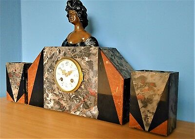 Art Deco French Marble and Spelter Clock with Garnitures