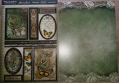 """Hunkydory * 1 Bogen Toppers + 1 Luxury Card """"Butterflies,Antique Emerald"""""""