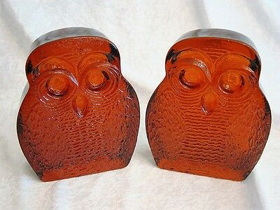 Vintage Midcentury Blenko Amber Glass Owl Bookends~Heavy~Wonderfully Unique~EXC