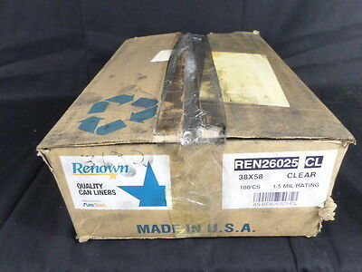 """Box of 100 Renown REN26025-CL 38"""" x 58"""" 60gal Clear Heavy Can Liners"""