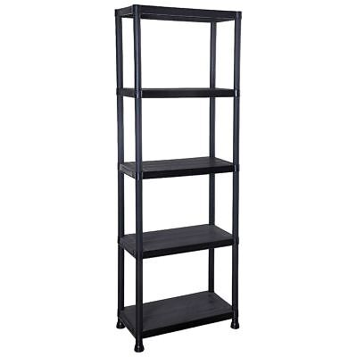 5 Tier Black Plastic Shelf Unit