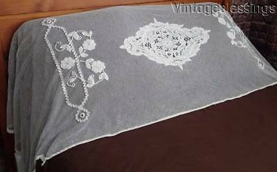 """Lovely Antique c1900 Appliqued French Net Lace Pillow Cover 85"""" x 27"""""""