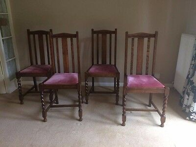 4 x Oak arts and crafts style dining chairs - Barley Twist legs
