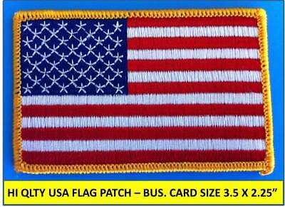 "USA AMERICAN FLAG EMBROIDERED PATCH IRON-ON / SEW-ON GOLD BORDER (3½ x 2¼"")"