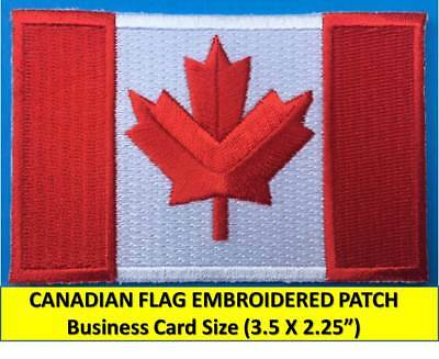 CANADIAN FLAG EMBROIDERED PATCH IRON-ON SEW-ON (4 ½ x 2 ½) CANADA MAPLE LEAF RED