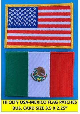 "AMERICAN FLAG & MEXICAN FLAG EMBROIDERED PATCH IRON-ON SEW-ON MEXICO  (3½ x 2¼"")"