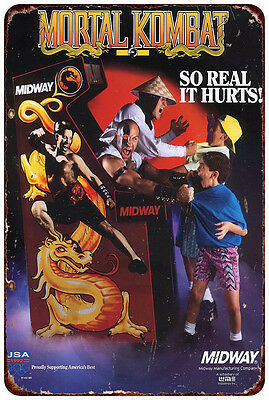 Mortal Kombat Midway Arcade Game Ad Vintage reproduction metal sign 8 x 12