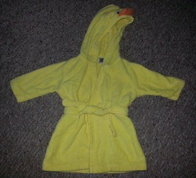 CARTER'S Hooded Yellow Terry Cloth Duckie Bathrobe Fits 0-9 months