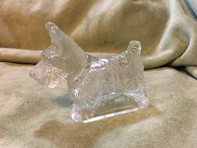 Estate Scotty Dog Clear GLASS CANDY CONTAINER  Vintage