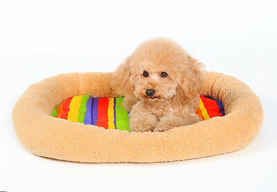 Anti-slip Bottom Colorful Canvas Padded Pet Bolster Bed Kennel Crate Carrier Mat