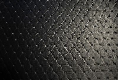 """Faux Leather Upholstery Black Diamond Vinyl Fabric Embossed Stitch 54""""W Pleather"""