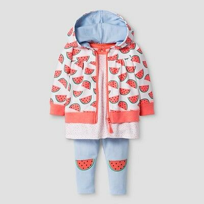 Infant Baby Girls Cat & Jack 3 pc Watermelon Outfit Pants Jacket Shirt Newborn
