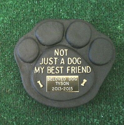 Dog Large Pet Memorial/headstone/stone/grave marker/memorial paw with plaque 2