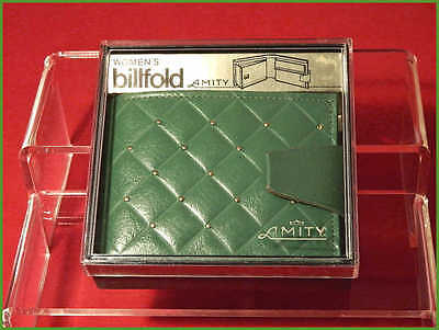 Vintage 1960's AMITY Women's Leather Billfold Wallet Unused with Box