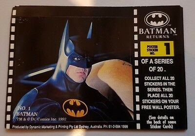 BATMAN RETURNS Movie trading card Poster sticker No 1 - Batman