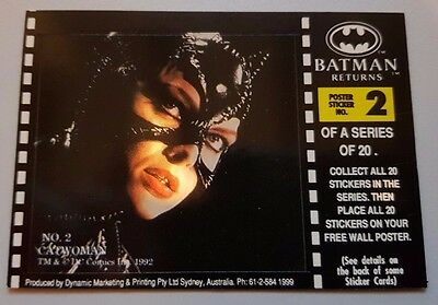 BATMAN RETURNS Movie trading card Poster sticker No 2 - CATWOMAN
