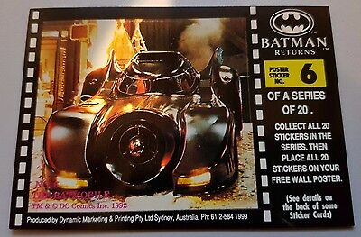 BATMAN RETURNS Movie trading card Poster sticker No 6 - THE BATMOBILE