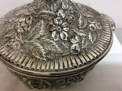 Sterling Silver repousse Sugar Bowl Caddy