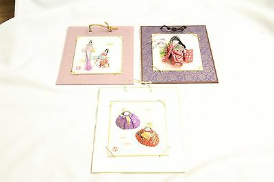 Lot of 3 Japanese Art Pictures Stamp Signed