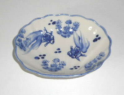 Antique Chinese Japanese Blue & White GOLDFISH small serving Clam shaped Bowl