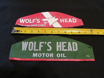 TWO Vintage Wolf's Head Motor Oil and Lubes Gas Station Attendant Hat Collectors