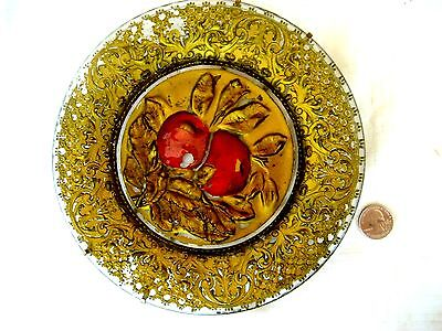"Goofus glass plate early 1900's -red apples on gold  8-3/8"" D - 1890's-1910's"