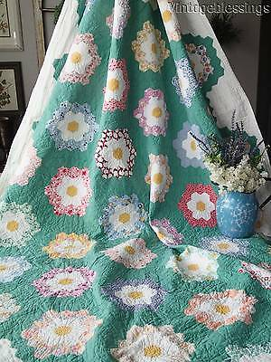 Beautiful Green Path VINTAGE Cottage 1930s Flower Garden QUILT 93x68""