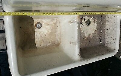 antique cast iron double sink with high back