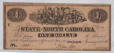 1863 $1 North Carolina Obsolete Currency Civil War Note Nc Raleigh Note