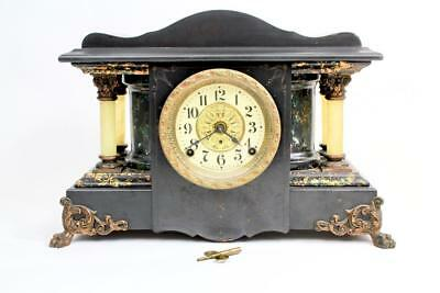 Seth Thomas 4 Pillar Mantle Clock Adamantine w/ Key Model 35 c1900 Parts Repair