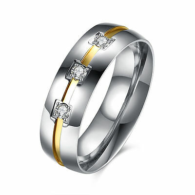 6mm Titanium Steel CZ Elegant Bands Mens/Women's 18K Gold Wedding Ring Size 5-13