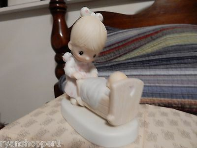 """Precious Moments Figurine """"The Hand That Rocks The Cradle""""   1979 With box"""