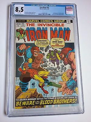 Iron Man 55 CGC 8.5 WHITE Pages 1st Thanos Avengers Movie Beautiful Book