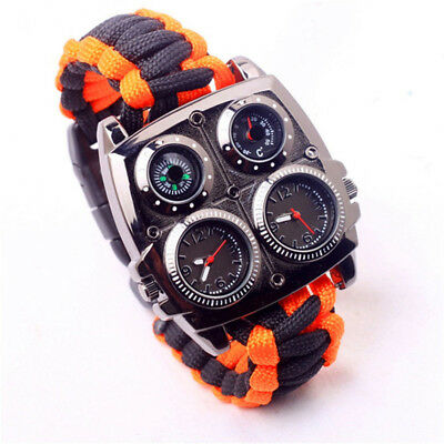 Paracord Compass Rope Bracelet Wristband Survival Camping Hiking Climbing Watch