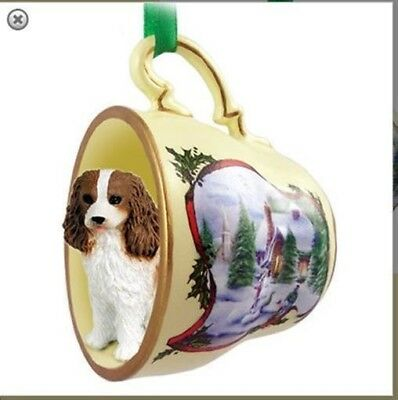 Victorian Trading Co King Charles Spaniel Tea Cup Christmas Ornament