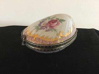 Hinged Porcelain Clam Shell Hand Painted Trinket Box Pink Gold Floral Design