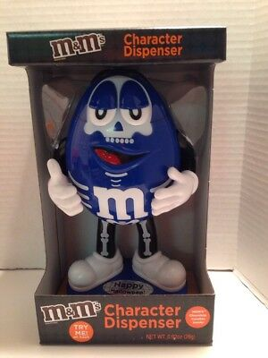 "M&M's Halloween Blue Skeleton Dispenser Large 10"" New 2017 Fresh Off Shelve"