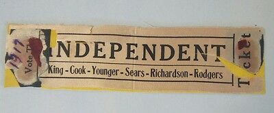 1917 Tuskegee University School Election Campaign Ribbon - Independent Ticket
