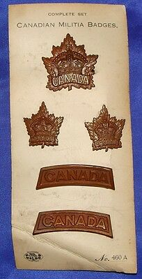 WW1 CEF Complete Set of Canadian Militia Badges on Card of Issue