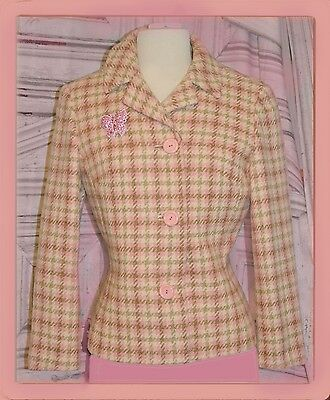 MOD Jacket pink peach beige white plaid 1960s awesome vintage
