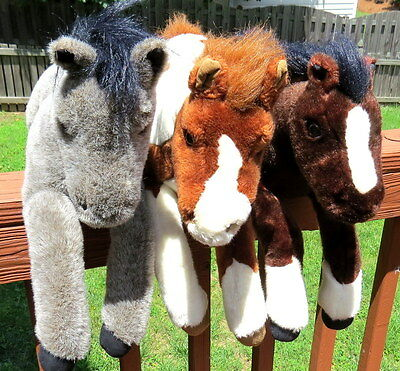 """Breyer Plush Lot of 3 Horses-18""""-20""""-Brown Gray Appaloosa Clydesdale-GUC"""