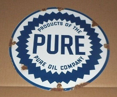 Pure Motor Oil Sign Gas & Oil Porcelain Metal Sign Gas Pump Oil Co