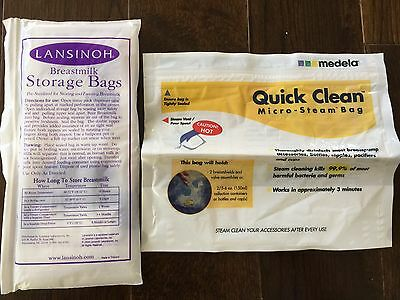 5 Bags Count Medela Quick Clean Micro-Steam Bags & breast milk storage bags